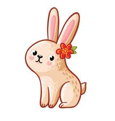 hare with flower vector image