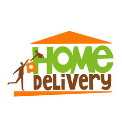 home delivery typography with delivery man vector image