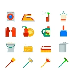 Household Cleaning Symbols Accessories Icons Set vector