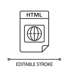 html file format linear icon hypertext markup vector image