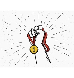 Human vintage hand holds red ribbon with golden vector