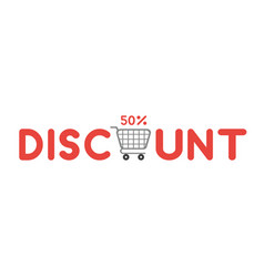 icon concept of discount word with shopping cart vector image