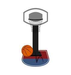 isolated basketball ball and a net vector image