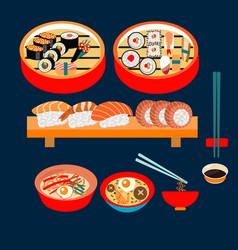 japanese food japanese dishes sushi set vector image