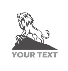 lion logo roaring on the mountain hill vector image