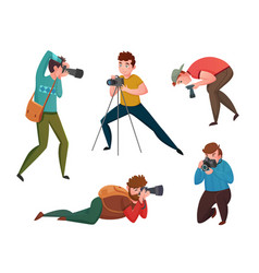 Male photographer in different poses vector