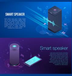 Modern smart speaker banner set isometric style vector