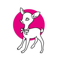 mono line design deer head isolated white vector image
