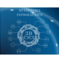 Multimedia Infographic Template vector image