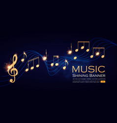Music notes and treble clef on swirling tave vector