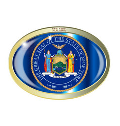 new york state seal oval button vector image