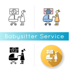 Night time nanny icon mother with baby vector