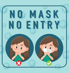 no mask entry sign with cartoon character vector image