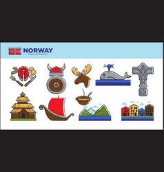 norway travel landmark symbols or norwegian vector image
