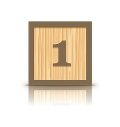 Number 1 wooden alphabet block vector