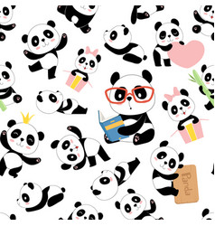 panda pattern traditional asian cute china baby vector image