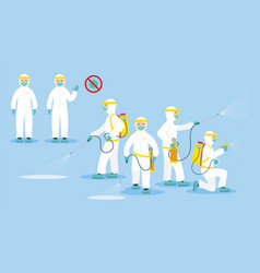 People in protective suit or clothing spray to vector