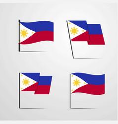 Phillipines waving flag set design vector