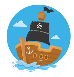 pirate ship sailing with black flag vector image