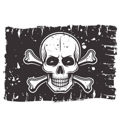 Pirates black flag with skull and crossbones vector