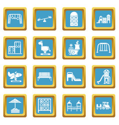 playground equipment icons set sapphirine square vector image