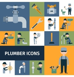 Plumber Icons Set vector