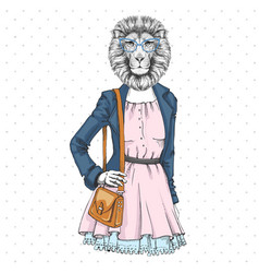 Retro hipster fashion animal lion woman model vector