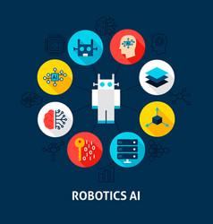 Robotics ai concept icons vector