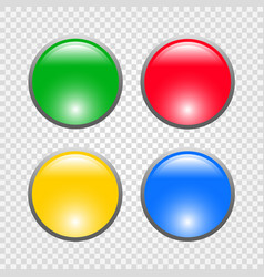 round glossy buttons four color web buttons vector image