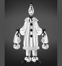 sad harlequin costume 3d realistic vector image