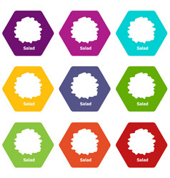 salad icons set 9 vector image