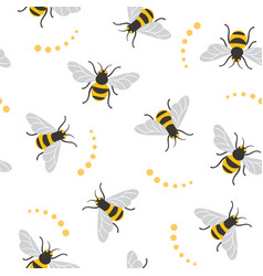 seamless pattern with bees bee vector image