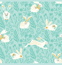 Seamless pattern with bunnies for easter vector