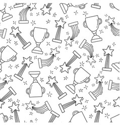 Seamless pattern with hand-drawn awards vector