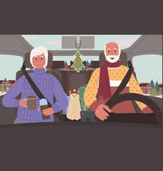 Senior people on road trip in winter in car vector