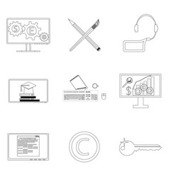 Seo icon linear set vector