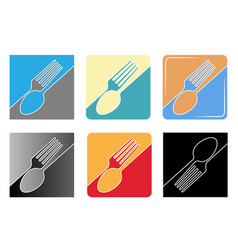 set abstract black logo for a restaurant vector image