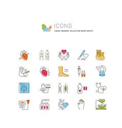 Set flat line icons heart defect vector