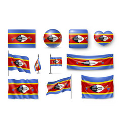 set swaziland flags banners banners symbols vector image