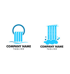 Set waterfall logo icon vector
