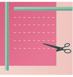 sewing accessories scissors and cloth vector image