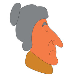 side view of an old lady with yellow scarf on vector image
