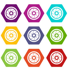 Small objective icon set color hexahedron vector