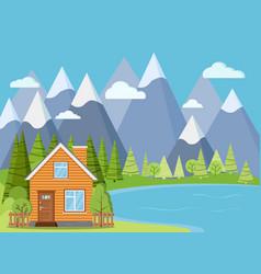 Spring or summer lake landscape scene wooden rural vector