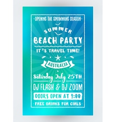 Summer Beach Party Flyer or Poster Night Club vector