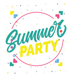 summer party circle frame background image vector image