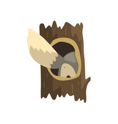 Tail wolf sticking out hollow tree hollowed vector