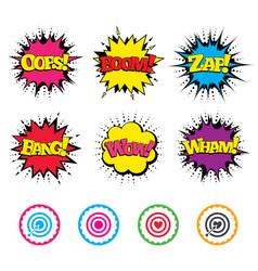 Target aim icons darts board signs symbols vector