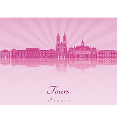 Tours skyline in purple radiant orchid vector image