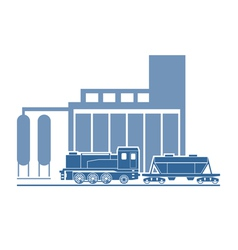 Train at industrial plant vector